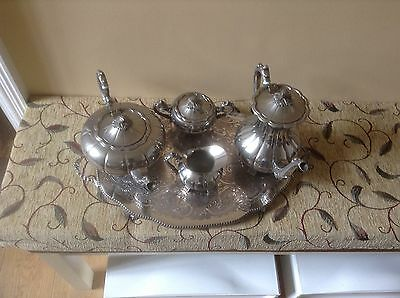 Vintage silver plated tea and coffee set with Pepper & Hope tray