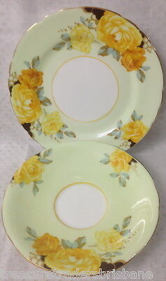 Aynsley Bone China Saucer & Side Plate B5136/2 Pale Green Border Yellow Roses
