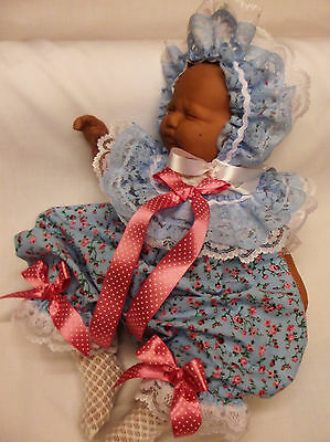 Dream Baby Girls Blue Pink Floral  Bubble Romper And Bonnet Or Reborn Dolls