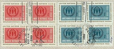 #5737 UN UNITED NATIONS Sc#75-6, Blocks of 4 Used World Refuge Year,1959 Stamps