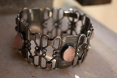 Signed ADOLF REGELMANN 1950s Modernism silver and rose quartz panel bracelet