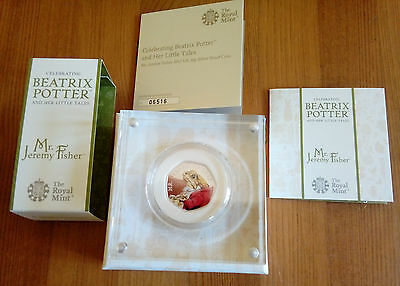 ROYAL MINT Beatrix Potter Jeremy Fisher 2017 UK Coloured 50p Silver Proof Coin