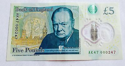 AK47 000247 Bank of England Polymer £5 Five Pound Note Genuine New Note