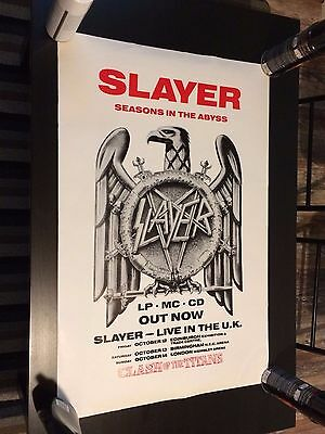 Slayer Rare Vintage 1991 Clash Of The Titans / Seasons in the Abyss Tour Poster