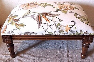 Victorian Vintage Floral Tropical Foot Stool Carved Wood Ottoman RARE