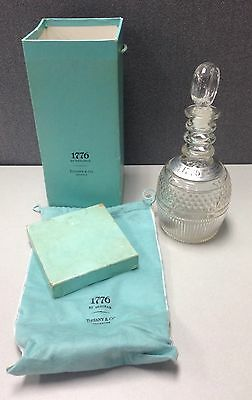 Tiffany Crystal Decanter 1776 Pouch Bag  Box Set Collectible