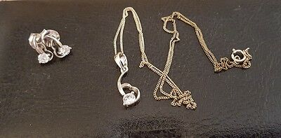Women's sterling silver fashion pendant and earrings