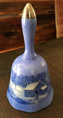 """""""A Home In The Wilderness"""" by Currier and Ives Blue Ceramic Bell Japan"""