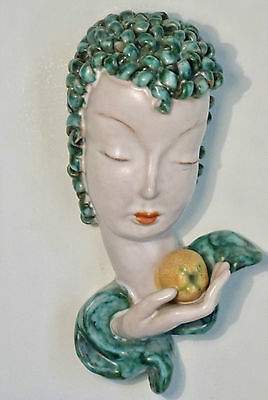 GOLDSCHEIDER WIEN VIENNA 1930s ART DECO WALL MASK HEAD, LADY WITH APPLE, No6774