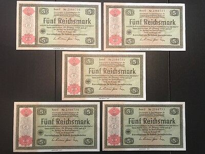 Germany 5 Reichsmark 1934 Conversion Fund  lot of 5 consecutive  P-207 (B177)