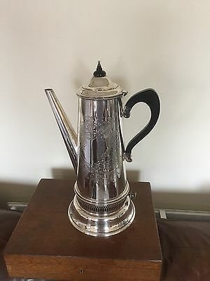 SILVER PLATED VERY LARGE TEAPOT/COFFEE POT ON A SPIRIT BURNER (Cavalier)