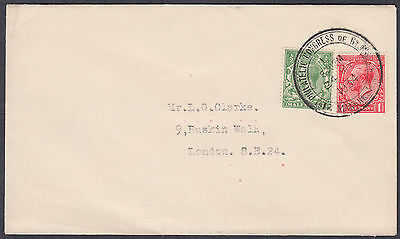 1934 Manchester Philatelic Congress SHS; KGV 1/2d + 1d to London; Fine