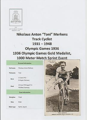 Toni Merkens Cyclist 1936 Olympic Gold Very Rare Original Hand Signed Postcard
