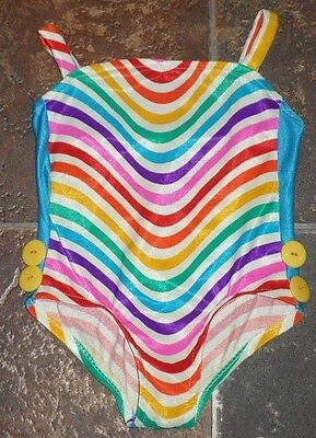 Baby Girls TODDLER SZ 2T Vintage RETRO Striped One Piece Swimsuit LITTLE DIPPERS