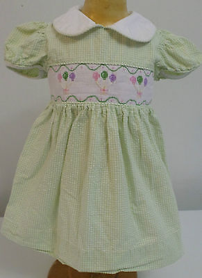 VTG INFANT BABY GIRL Seersucker Smocked Dress LITTLE ENGLISH novelty BALLOONS 12