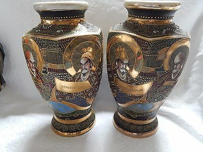 LARGE PAIR ANTIQUE VINTAGE JAPANESE SATSUMA VASES  ~ 4 IMMORTALS ~ c 1920's
