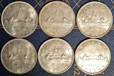 Canada Silver Dollars - 1958-1962 - circulated Pick one or more dates .800 FINE