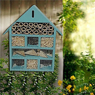 Insect Hotel Wooden Garden House Bees Bugs Ladybird Hanging Nest Safe Home Blue