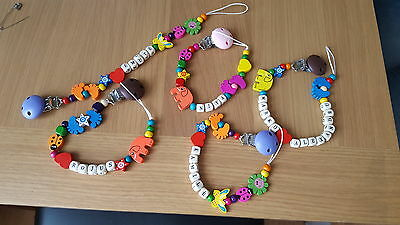 New Handmade wooden personalised dummy clip / holder for boys and girls