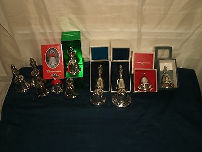 Vintage Lot of 12 Christmas Bells, Reed & Barton, Gorham, Towle, Kirk Stieff,