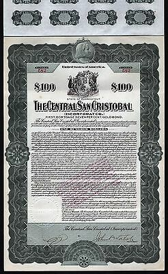 1910 Puerto Rico / Connecticut: The Central San Cristobal - $100 Gold Bond