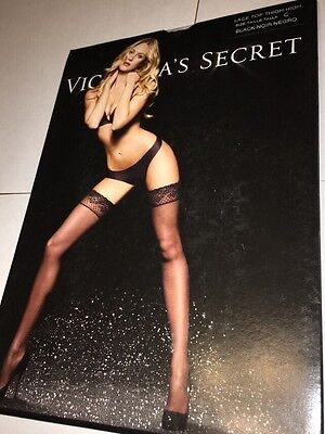 NWT Victoria's Secret Lace Top Thigh High Stockings Black size C