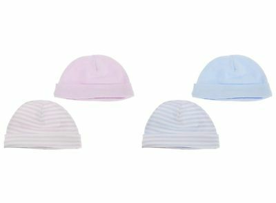 2 Pack Boy/Girl Baby Hats 1 Stripe/1 Plain Pink/Blue 0-6 Months 100% Cotton