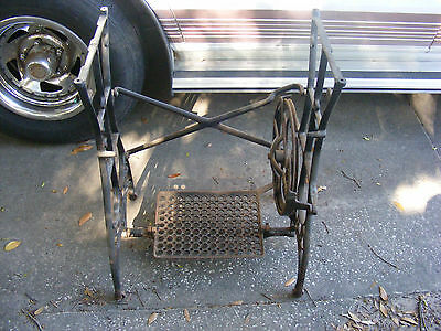 Antique White Sewing Machine Iron TREADLE Legs - Salvage Industrial Legs,