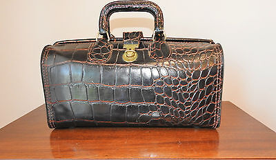 Vtg. Upjohn Brown Leather Moc Croc Genuine Cowhide Doctors Medical Bag