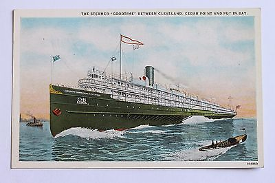 """Old postcard STEAMER """"GOODTIME"""" BETWEEN CLEVELAND, CEDAR POINT AND PUT-IN-BAY, C"""