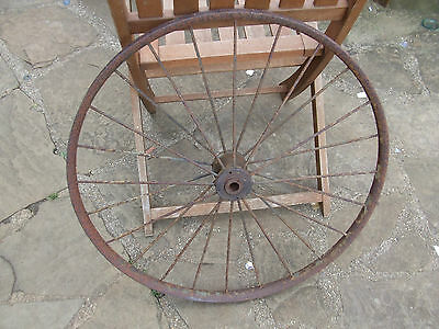 "ANTIQUE WROUGHT IRON WHEEL 25"" DIA  1 1/4"" rim width"