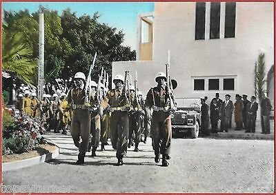 Libyan Soldiers Marching In Derna c1960. Coloured Real photo.