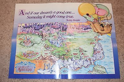 RARE Vintage Teddy Ruxpin Land Of Grundo Poster Map excellent
