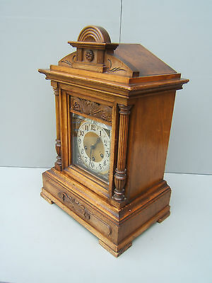 "Antique Mahogany mantel clock chiming Junghans B06 19"" high  has to be seen  M4"