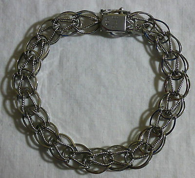 "Vintage Sterling Silver Charm Bracelet With Safety Clasp - 7 1/2"" Long"