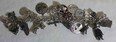 Vintage Sterling Silver Charm Bracelet With Safety Clasp & 26 Charms - 7 3/4""