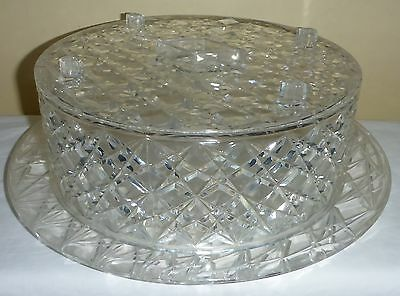 Vintage Trelawney Lucite Crystal Container Cake Plate & Cover In Original Box