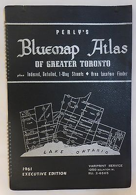 1961 Copy Of Perly's Bluemap Atlas Of Greater Toronto Executive Edition