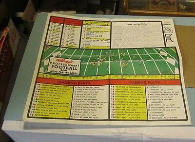 1970 Bo-Lyn Kellogg's Professional Football Game Play Sheet with Rules Markers