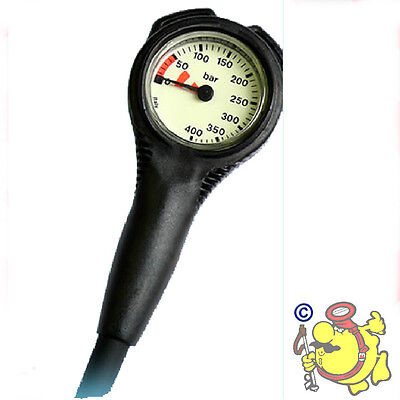 GE HP pressure gauge brass , fluo scale 0/400 and RUBBER HOSE