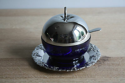 Vintage blue glass stainless plate apple sauce lidded dish, saucer and spoon