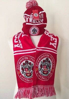 New Accrington Stanley Football Club Scarf And Bobble Hat