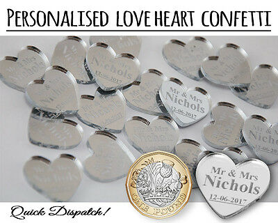 100 Personalised Wedding Table Confetti Heart Favours Mr & Mrs Gift