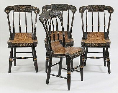 Set of (4) American country plank seat chairs Lot 197