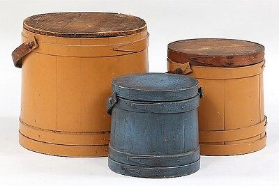 Group of (3) graduated painted American firkins Lot 251