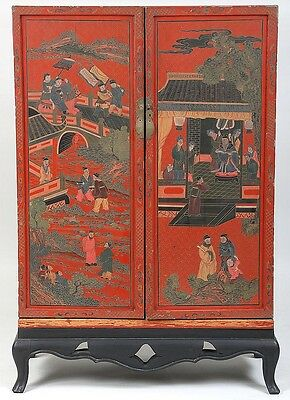 Asian red lacquer cabinet-on-stand Lot 126
