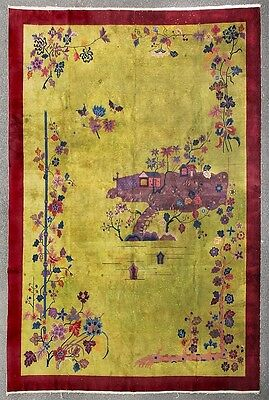Art Deco Chinese rug with landscape Lot 128