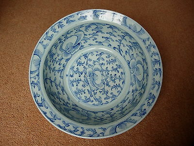 18th Century Chinese Blue & White Washing Bowl c1796-1820