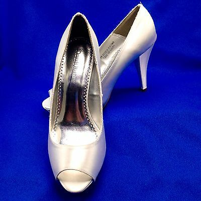 Davids Bridal White Satin High Heel Shoe Open Toe Paloma 9M Wedding Prom Formal