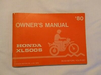 HONDA XL500s OWNERS MANUAL 1980 XL500